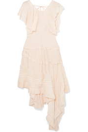 Chloé Asymmetric lace-trimmed silk-blend midi dress