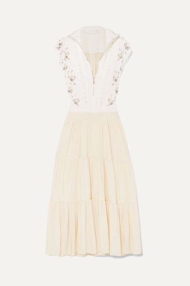 EMBELLISHED BRODERIE ANGLAISE LINEN AND CADY MIDI DRESS