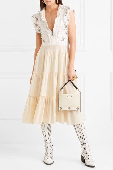 Enjoy Cheap Price Best Wholesale Cheap Price Embellished Broderie Anglaise Linen And Cady Midi Dress - White Chloé 9UaiT
