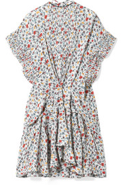 Chloé Ruffle-trimmed pleated floral-print georgette mini dress