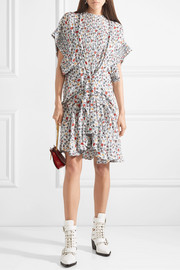 Ruffle-trimmed pleated floral-print georgette mini dress