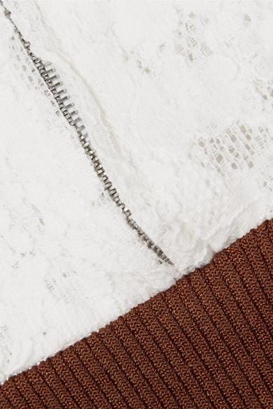 Chloé Minikleid aus Jacquard-Strick, Spitze und Stretch-Material