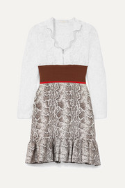 Chloé Paneled lace, stretch and jacquard-knit mini dress