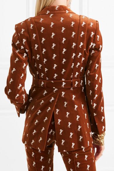 Chloé Bestickter Blazer aus Samt aus einer Baumwollmischung