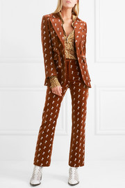 Embroidered cotton-blend velvet blazer