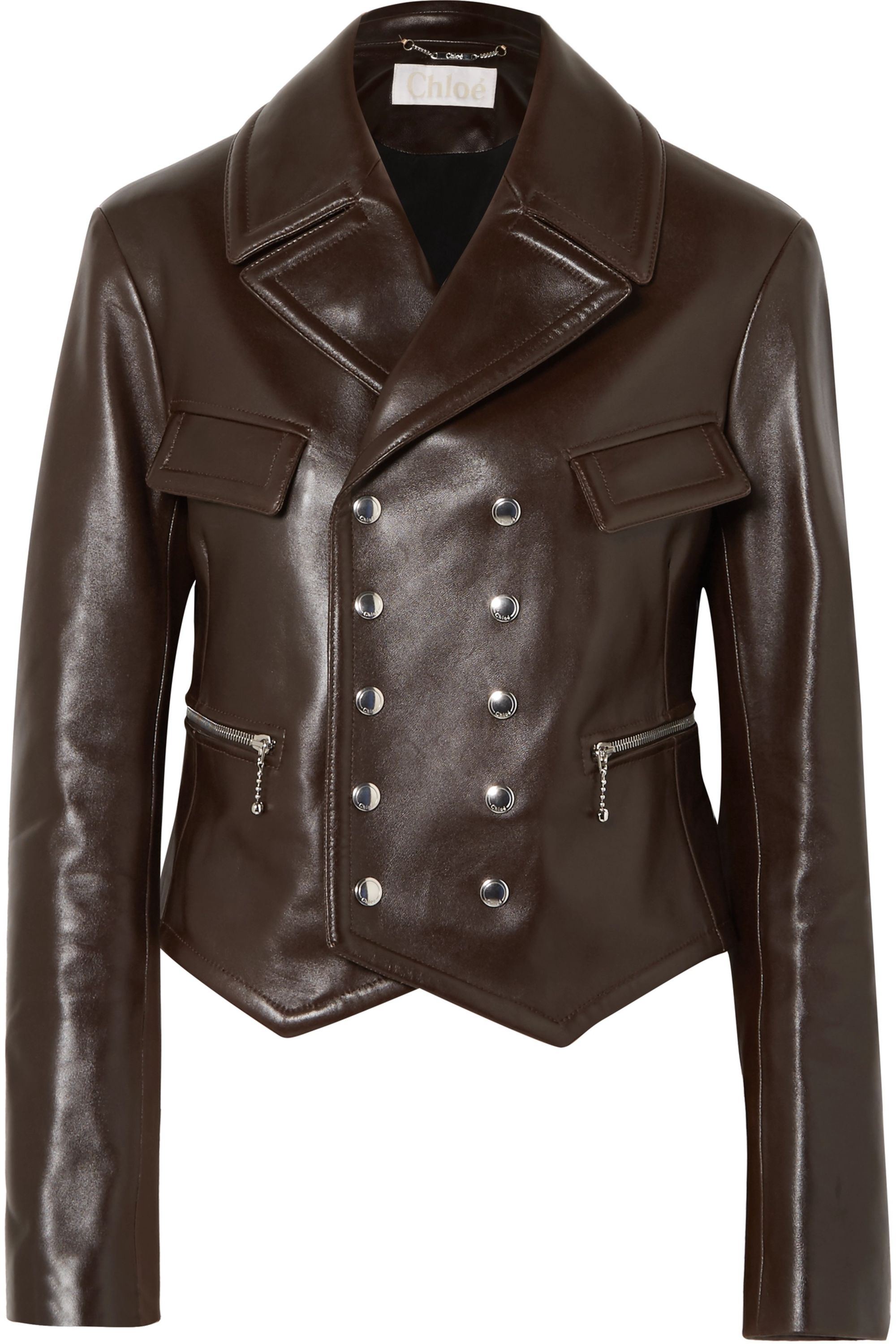 Chloé Double-breasted leather biker jacket