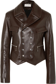 Double-breasted leather biker jacket