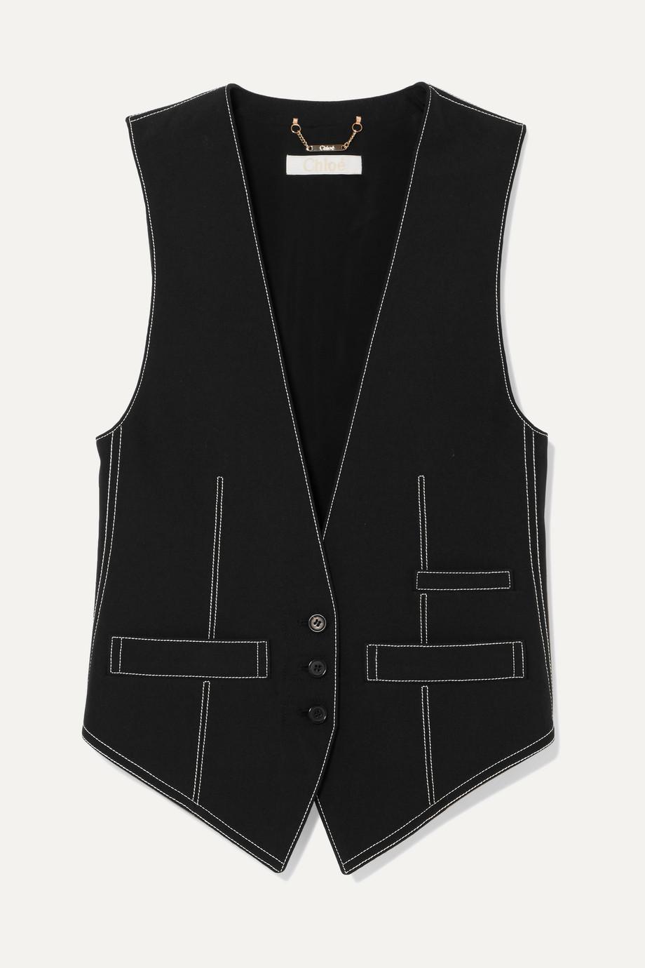 Chloé Topstitched crepe vest