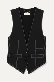 Top-stitched crepe vest
