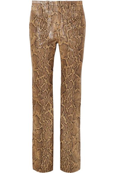 Chloé Hose mit geradem Bein aus Leder mit Schlangeneffekt