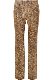 Snake-effect leather straight-leg pants