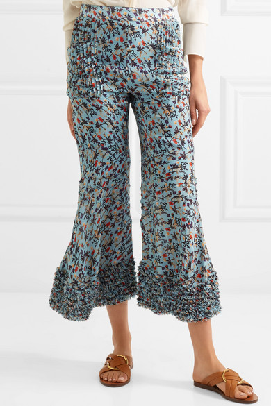 Ruffle-trimmed Pleated Floral-print Crepe Flared Pants - Blue Chloé tc57T6
