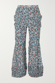 Chloé Ruffle-trimmed pleated floral-print crepe flared pants