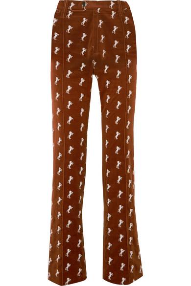 Embroidered Cotton Blend Velvet Straight Leg Pants by Chloé