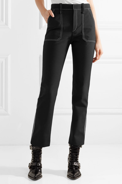 Crepe High Rise Straight Leg Pants by Chloé