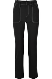 Crepe high-rise straight-leg pants