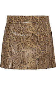 Chloé Snake-effect leather mini skirt