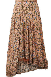 Chloé Asymmetric pintucked floral-print georgette skirt
