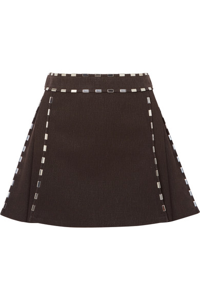 Embellished Cotton Canvas Mini Skirt by Chloé