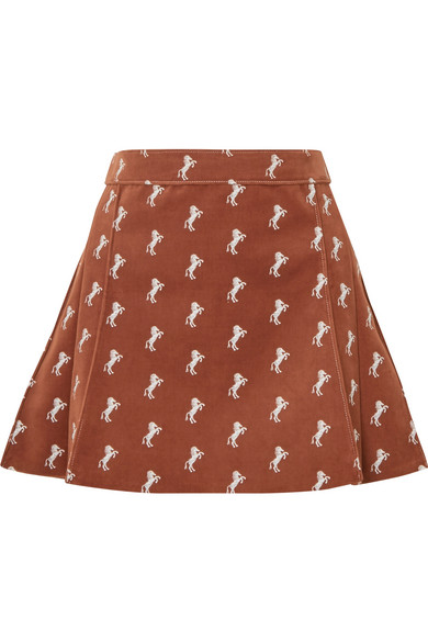 74ced256b0 Pleated embroidered cotton-blend velvet mini skirt