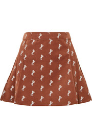 Chloé Pleated embroidered cotton-blend velvet mini skirt