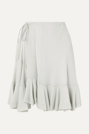 Chloé Ruffled crepe wrap mini skirt