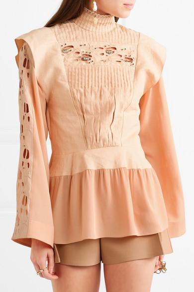 Chloé Verzierte Bluse aus Leinen und Cady mit Biesenfalten und Lochstickerei