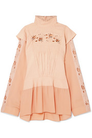 Chloé Embellished pintucked broderie anglaise linen and cady blouse