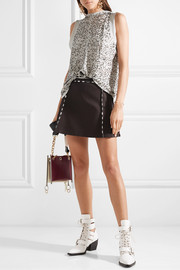 Draped sequined silk-crepe blouse