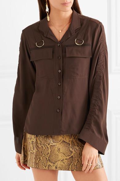 Chloé Verzierte Bluse aus Crêpe de Chine mit Satinbesätzen