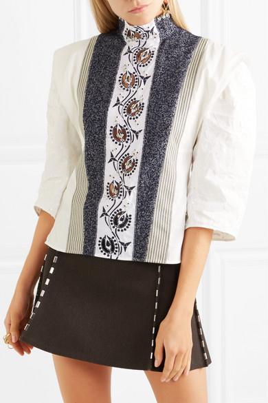 Chloé Besticke Bluse aus Leinen, Tweed und Canvas mit Verzierungen