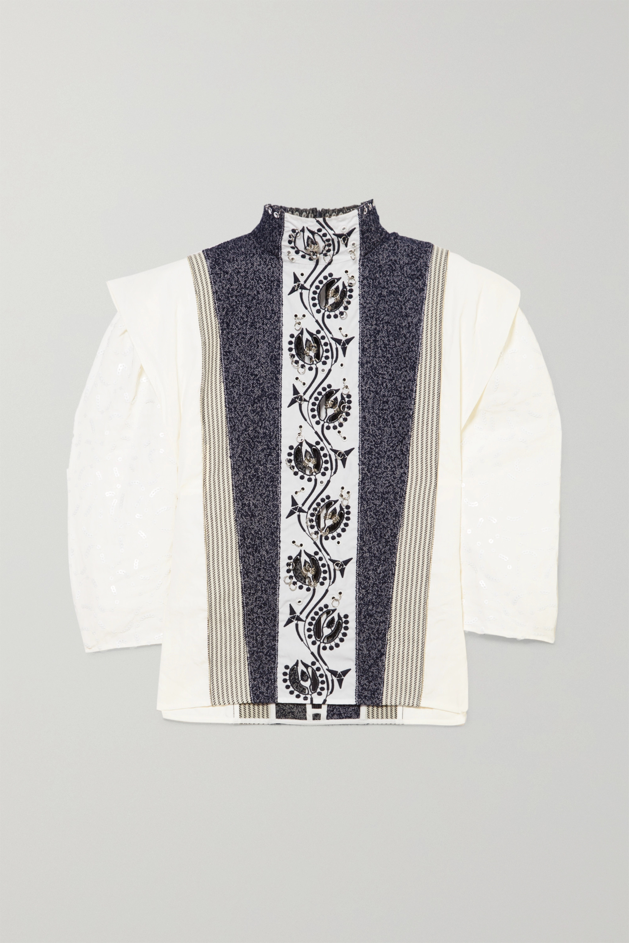 Chloé Embellished embroidered linen, tweed and canvas blouse