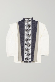 Embellished embroidered linen, tweed and canvas blouse