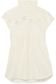 Chloé Pintucked silk top
