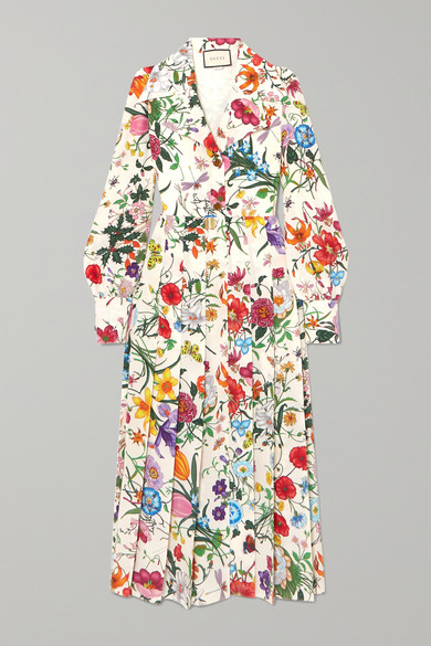 Gucci Dress Pleated floral-print silk crepe de chine dress