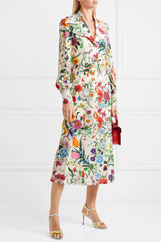 Gucci Pleated floral-print silk crepe de chine dress