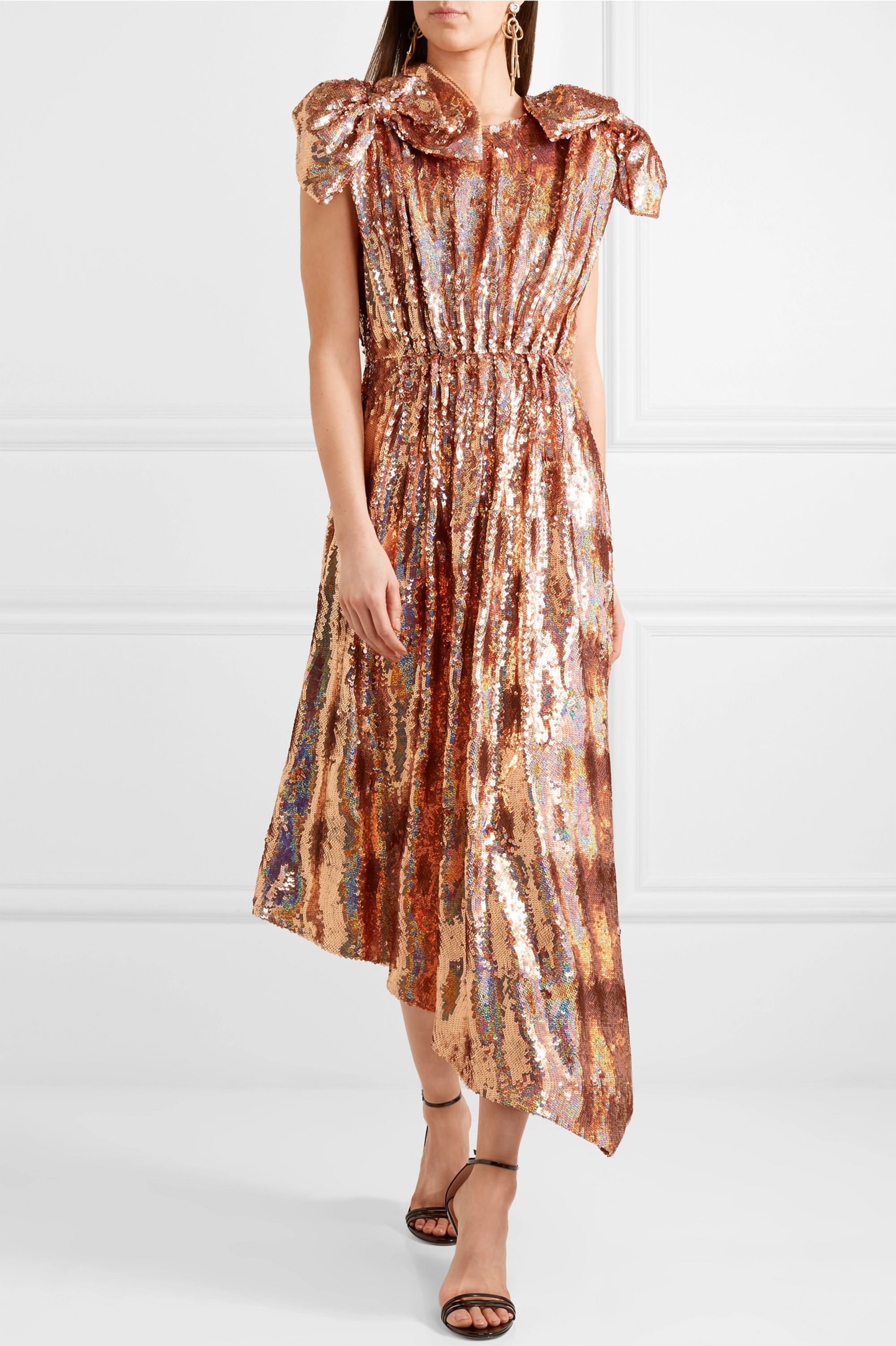 Gucci Bow-embellished sequined silk-georgette gown
