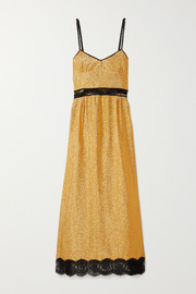 Gucci Lace-trimmed lamé maxi dress