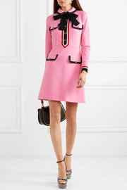 Gucci Grosgrain-trimmed jersey mini dress