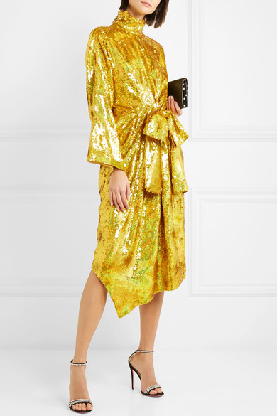Gucci Bow Detailed Sequined Silk Georgette Midi Dress Net A