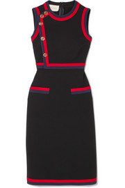 Gucci Button-detailed grosgrain-trimmed stretch-jersey dress