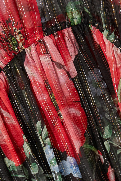 Gucci Dress Floral-print crinkled silk-blend chiffon gown