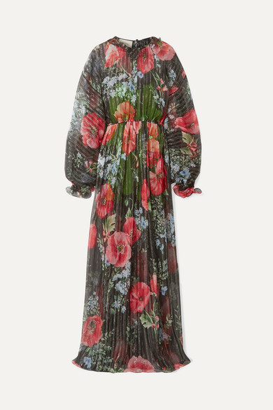 Floral-Print Crinkled Silk-Blend Chiffon Gown in Multicolour