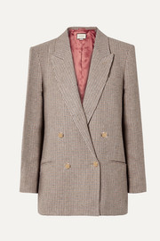 Houndstooth checked linen blazer