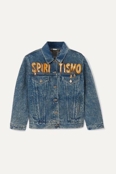 Oversized Embellished Appliquéd Denim Jacket by Gucci
