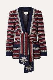 Embellished striped cotton-blend bouclé-tweed blazer