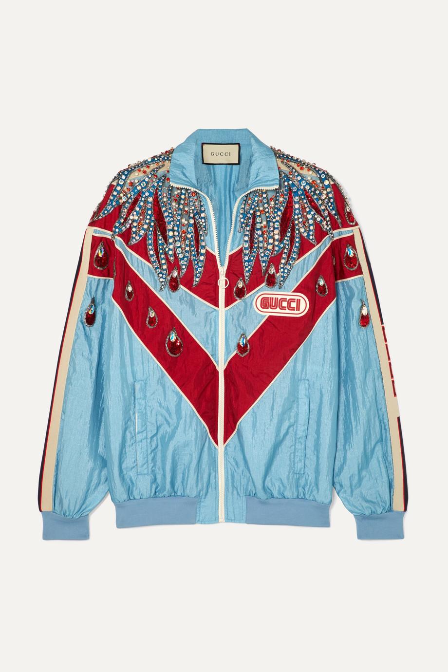 Gucci Paneled embellished shell track jacket