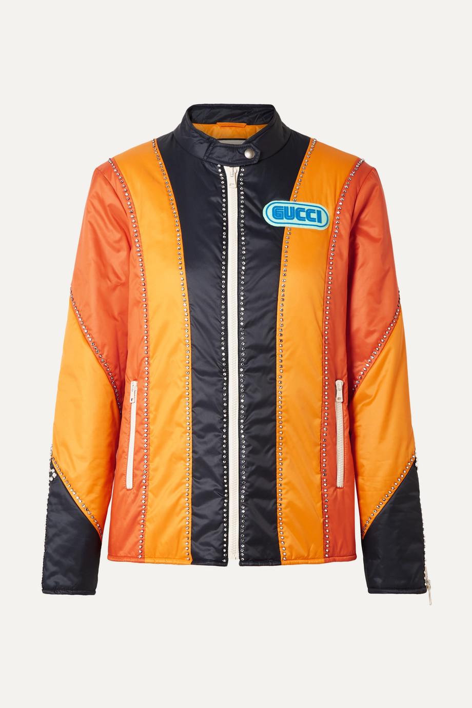 Gucci Embellished paneled shell bomber jacket
