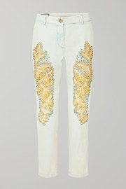 Gucci Embellished appliquéd mid-rise straight-leg jeans