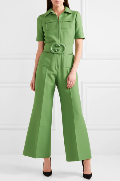 a695966383d Gucci. Belted wool and silk-blend cady jumpsuit